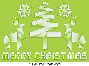 origami christmas background - origami christmas with tree,...