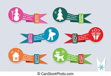 Origami Christmas banners set, vector