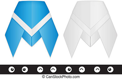 A paper origami cicada creation kit. Contains: bodies (blue, white) and eyes. Includes transparent objects, blends and opacity masks.