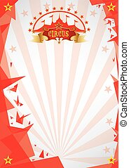origami, circus, rode achtergrond