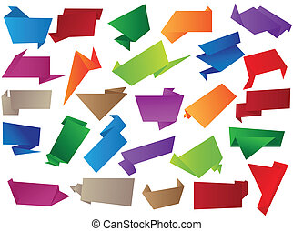 origami - set of  origami paper, banners and labels