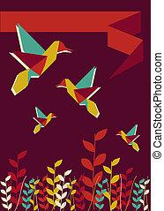 origami, colibrì, tempo primaverile