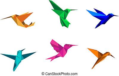 origami, colibrís
