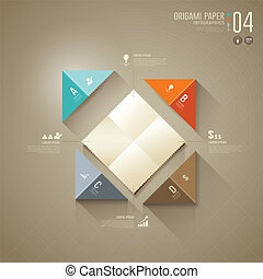Origami colorful paper Infographics