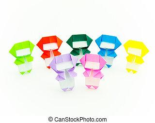 origami, colorido, ninja