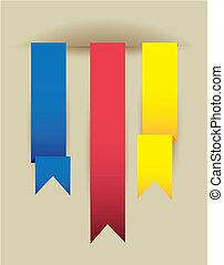 origami, colorito, nastri