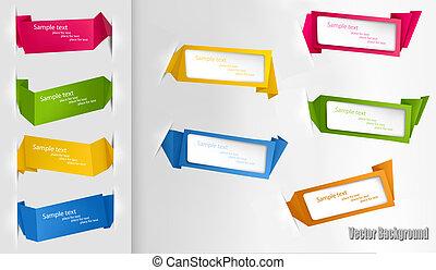 origami, conjunto, colorido, papeles