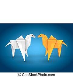 Origami couple camel