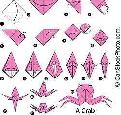 origami, crab.