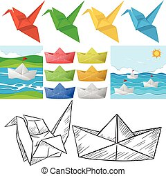 Origami craft with bird and boat