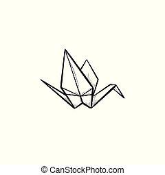 Origami crane hand drawn sketch icon.