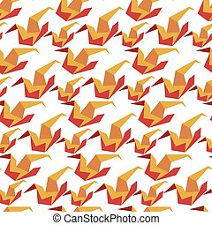 Origami crane, hobby of paper folding seamless pattern