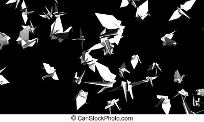 Origami crane on black background. Loop able 3DCG render...