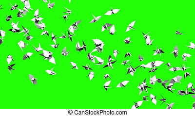 Origami crane on green chroma key. Loop able 3DCG render...