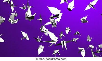 Origami crane on purple background. Loop able 3DCG render...
