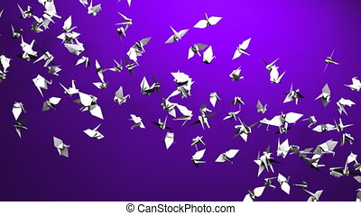 Origami crane on purple background. Loop able 3DCG render...