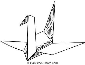 Origami crane paper bird sketch icon