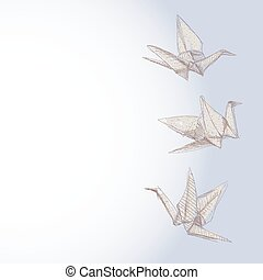 origami crane sketch - symbol of faith, hope and love. Banner for your text. vector
