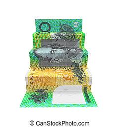 origami, dólar australiano, escalera