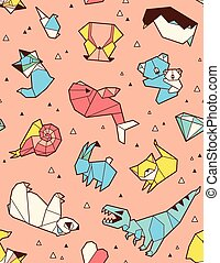 origami, dieren, achtergrondmodel