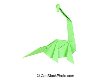 Origami dinosaur - isolated on white background