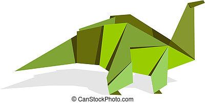 origami, dinozaur, kolor, wibrujący