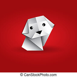 Origami dog - This image is a vector illustration and can be...