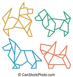 Origami Dogs Icon Set 3