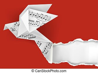 Origami dove with musical notes.