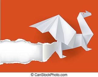 origami, dragão, paper., rasgando