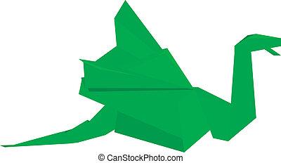 origami dragon green