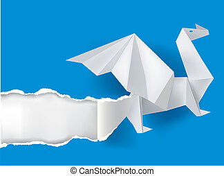 Origami Dragon ripping paper