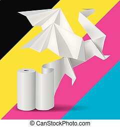Origami Dragon with rool of paper on print color background.