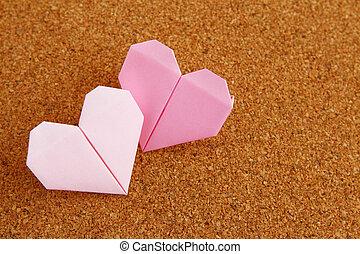 origami, dwa, serce