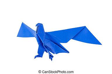 Origami eagle isolated on white background