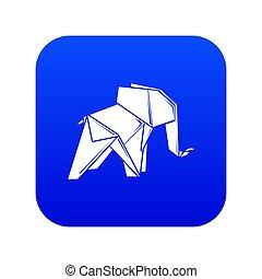 Origami elephant icon blue