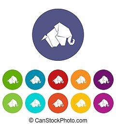 Origami elephant icons set color