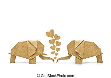 Origami elephant of love