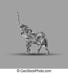 Origami elephant, vector