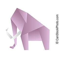 Origami elephant, vector. Pink paper figure on white background