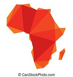 origami, estilo, áfrica, mapa
