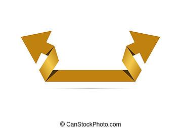 origami, estilo, flecha