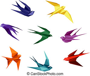 origami, estilo, golondrinas