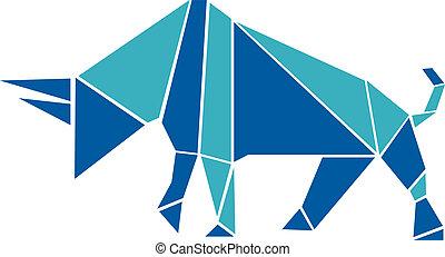 origami, estilo, touro