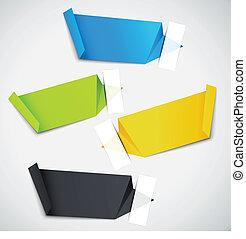 origami, etykiety, komplet