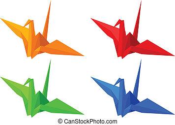 origami, fåglar