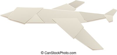 Realistic render of origami plane travel concept.