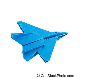 Origami F-15 Eagle Jet Fighter airplane isolated on white