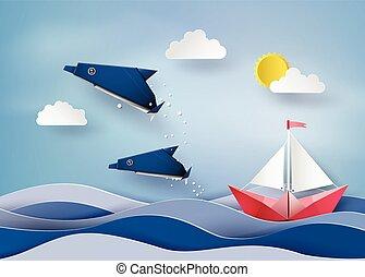 fait art voile marine papier origami bateau vecteur. Black Bedroom Furniture Sets. Home Design Ideas