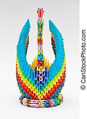 origami, farben, schwan, regenbogen
